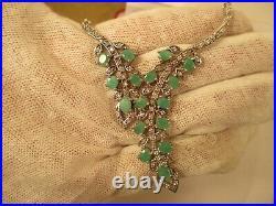 Sterling Silver, Natural Emerald & CZ Necklace, Earrings, Bracelet & Ring Set