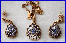 Stunning 10K Solid Yellow Gold and Natural Iolite Ring, Earrings And Pendant Set
