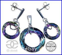 Swarovski Crystals Earrings Pendant Vitrail Ring Sterling Silver 925