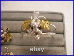 TAXCO 3D Grape Parure Set Bracelet Pendant Pin Earrings Ring TB-04 Sterling 925