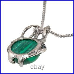 Three Piece Jewelry Sterling Silver Pendant, Ring and Earings Set with Malachite
