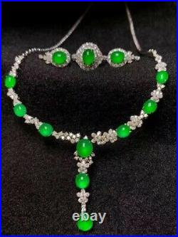 Top Emerald 100% Natural Icy Green Jade Jadeite Ring + Earrings + Necklace Set
