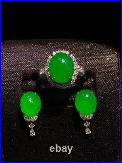 Top Emerald Natural Icy Green Jade Jadeite Necklace Ring Earrings SetGrade A