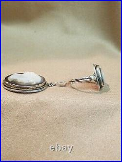 VTG Silver Cameo Set Mother of Pearl Abalone Pendant, Ring, Screw Back Earrings
