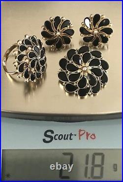 Victorian 14K Gold Onyx Pendant Brooch Earrings Ring Set Jewelry, 21.8 Grams