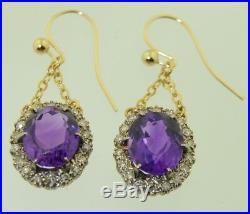 Victorian 18K & Platinum Amethyst & Diamond Halo Pendant Earrings
