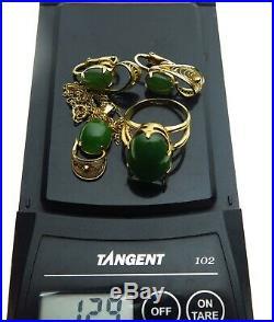 Vintage 10K Rolled Gold Ring Pendant Chain & Clip Earrings Nephrite Jade Set