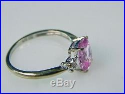 Vintage 10K White Gold Rose Sapphire Jewelry Set Ring Earrings Pendant