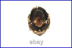 Vintage 14K Yellow Gold Smokey Quartz Ring Earrings Pendant Necklace Set