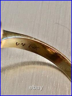 Vintage 14k Gold Aquamarine Jewelry Set, Greek Key Pendant, Ring, Earrings