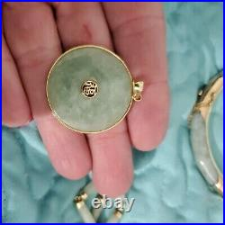 Vintage 14k Yellow Gold And Jade Set Necklace Pendant Earrings Ring And