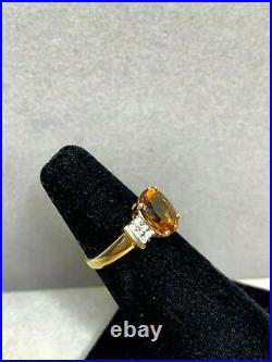 Vintage 14k Yellow Gold Citrine and Diamond Set With Ring, Earrings, and Pendant