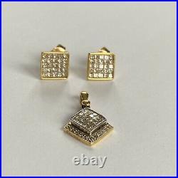Vintage 18ct White Gold Natural 1.48ct Diamond Pendant Earring Set 86 Diamonds