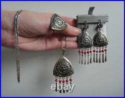 Vintage 925 Silver Kazakhstan Ethnic Jewelry SET (Earrings+Ring+Pendant/Chain)