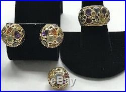 Vintage BEAUTIFUL 14K Solid Gold Multi Gemstone EARRINGS, RING AND PENDANT Set