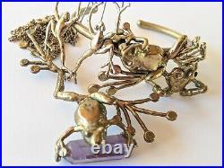 Vintage Brutalist Brass Amethyst Frog Bracelet Earrings Ring Pendant Necklace
