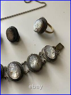Vintage Carved Shell Cameo Bracelet Earring Pendant and Ring Set Marked 800