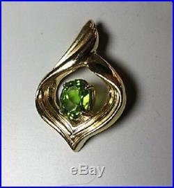 Vintage Designer 14K Gold Peridot Signed cK Pendant M Freeman Ring Earrings Set