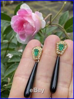 Vintage Estate 14k Gold Emerald Diamond Halo Onyx Dangle Pendant Earrings