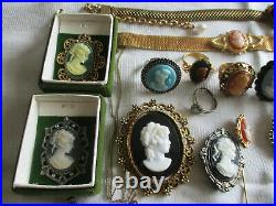 Vintage Estate Lot Cameo Jewelry Necklace Rings Bracelet Brooch Earrings Pendant