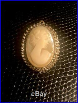 Vintage Italian 800 Silver Shell Cameo Hand Carved Pendant Ring And Earring Set