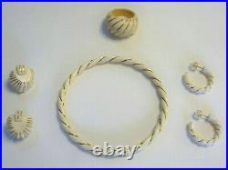 Vintage Lot 14k/585 Carved Bovine Bone Ivory Color Earrings, Bracelet, Ring