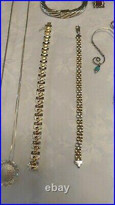 Vintage Lot Sterling Silver Jewelry 135 Grams, Rings Earrings, Chain, Pendants
