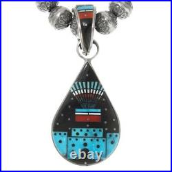 Vintage MICROINLAY YEI BEI CHI Pendant Necklace Earrings Ring Set, E Tsosie c80s