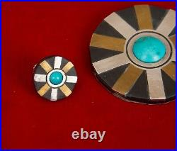 Vintage Modernist Silver Mixed Materials Taxco Mexico Pendant & Earrings -1950s