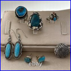 Vintage Native American Sterling Silver Turquoise Ring Pendant Earring Lot