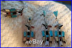 Vintage Native American Zuni Laiwakete Waterbird Earrings pendant bracelet ring