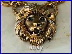 Vintage PANETTA Pendent Necklace In Chunky Nugget Gold Rings & Lion With Green Eye