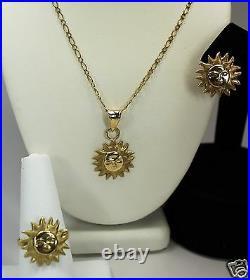 Vintage Retro Ladies 10k Gold Sun Set w Pendant Necklace + Ring + One Earring