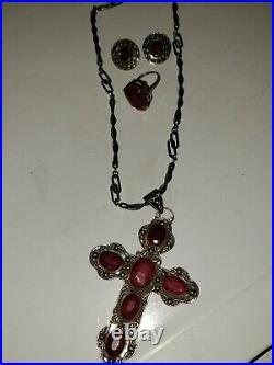 Vintage Ruby Cross Necklace / Ring / earring Sterling Silver set