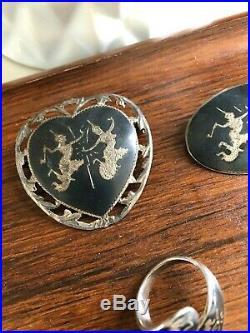 Vintage SIAM 925 Sterling SILVER Pendant RING Brooch EARRING Lot SET Niello THAI