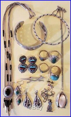 Vintage Southwestern Sterling Jewelry Lot Bracelets, Rings, Earrings Pendants