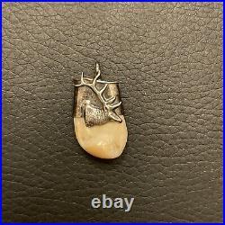 Vintage Sterling Silver ELK Tooth jewelry set ring, earrings & pendant RARE