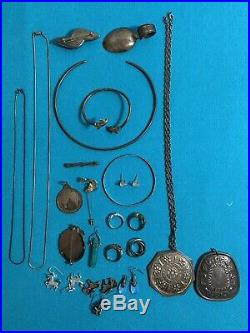 Vintage Sterling Silver Mixed Jewelry Lot Rings Pendants Earrings Wolves Dolphin