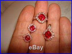 Vintage Unique JWBR 10k Yellow Gold Multi Stones Set Earrings Pendant Ring 7.25