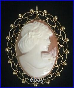 Vintage VAN DELL CAMEO SET 14K G. F. Ring, Pendant/Brooch and Dangle Earrings