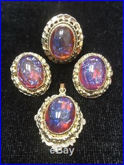 Vintage WHITING & DAVIS Dragons Breath Color Clip Earrings, Ring & Pendant Set
