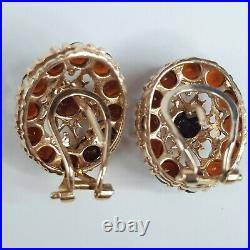 Vintage Womens 14k Yellow Gold Mozambique Garnet Earrings Pendant And Ring Set