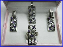 Vintage Womens Set Jewelry Of Earrings And Ring Pendant Sterling Silver 925