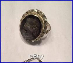 Vtg 800 Silver MOP Carved Cameo Set Pendent Necklace Bracelet Ring Earrings
