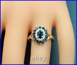 Women's 9ct Gold & Sapphire Diamond Ring Pendant & Earring Set Vintage Jewellery