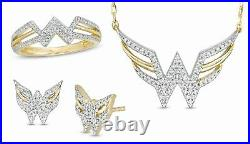 Wonder Woman Pendant And Earring Set With White Round Diamond Ring In 925 Silver