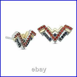 Wonder Woman Pendant & Earring Set With Garnet & Blue Sapphire Ring 925 Silver