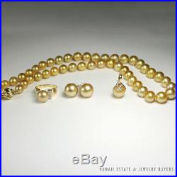 Yellow Champagne Pearl 14k Yellow Gold Necklace, Ring, Pendant & Earrings Set