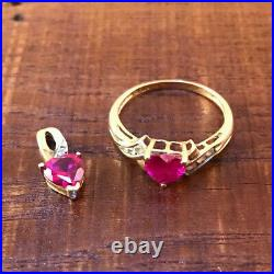 Zales Pink Sapphire Heart Pendant & Size 7 Ring 10K Gold with Diamonds + 1 Earring